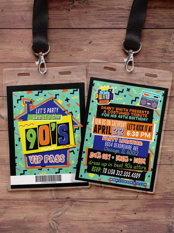 90s party 80s partyHip HopVIP PASS backstage pass Vip