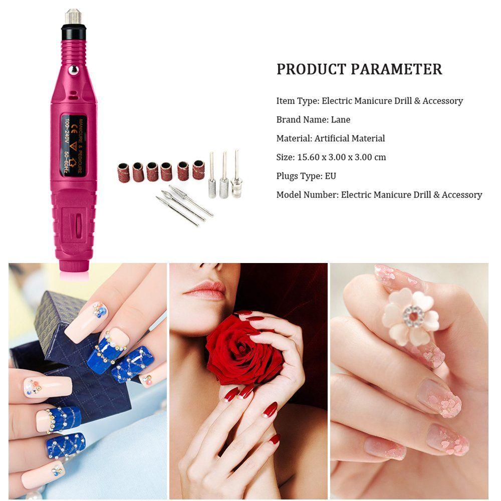 Nail Art Drill Polish Kit Professional Finger Toe Buffer Acrylics Treatments Set Electric