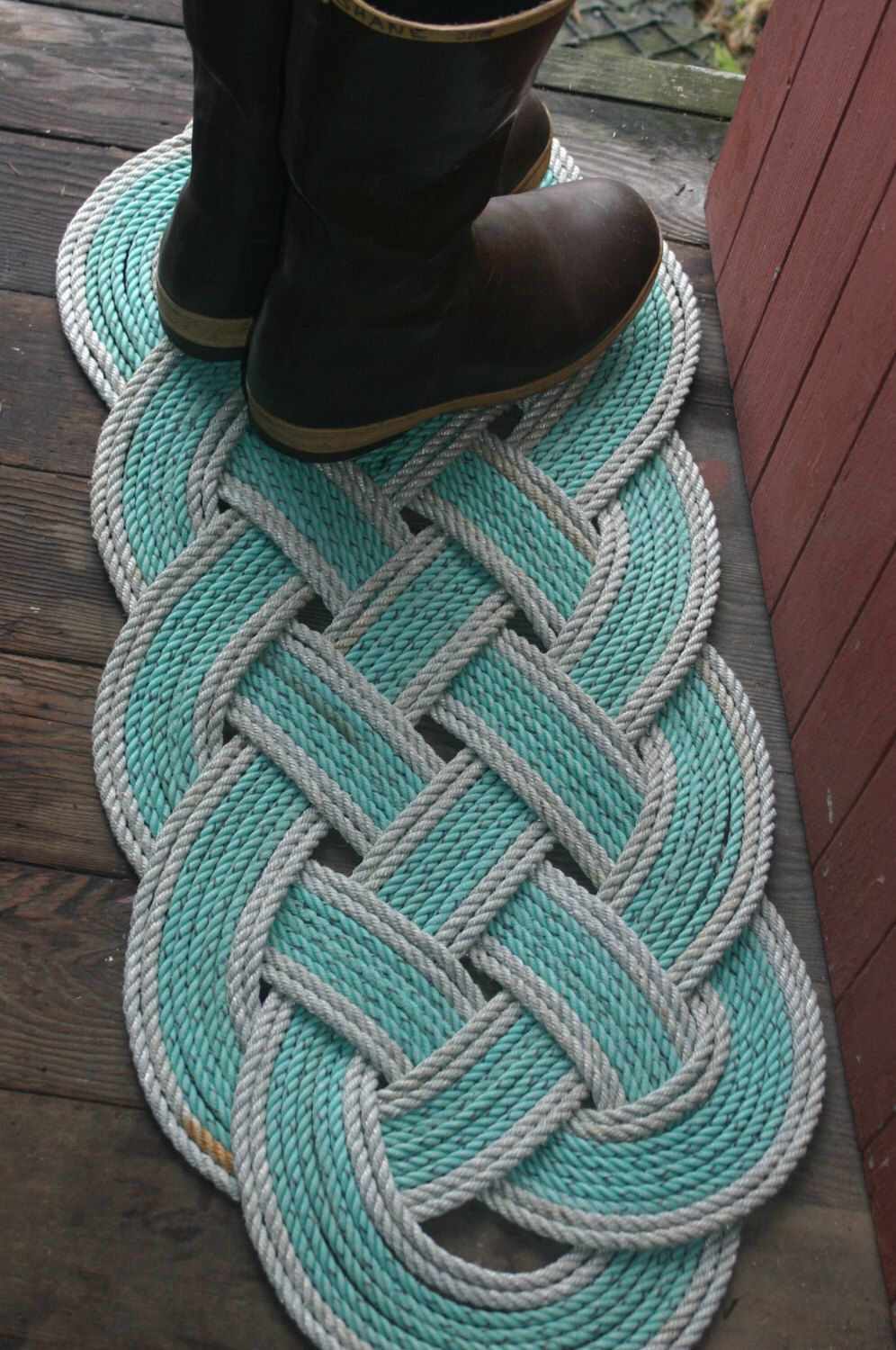 Ecofriendly awesome silver green rope rug 36 x 15