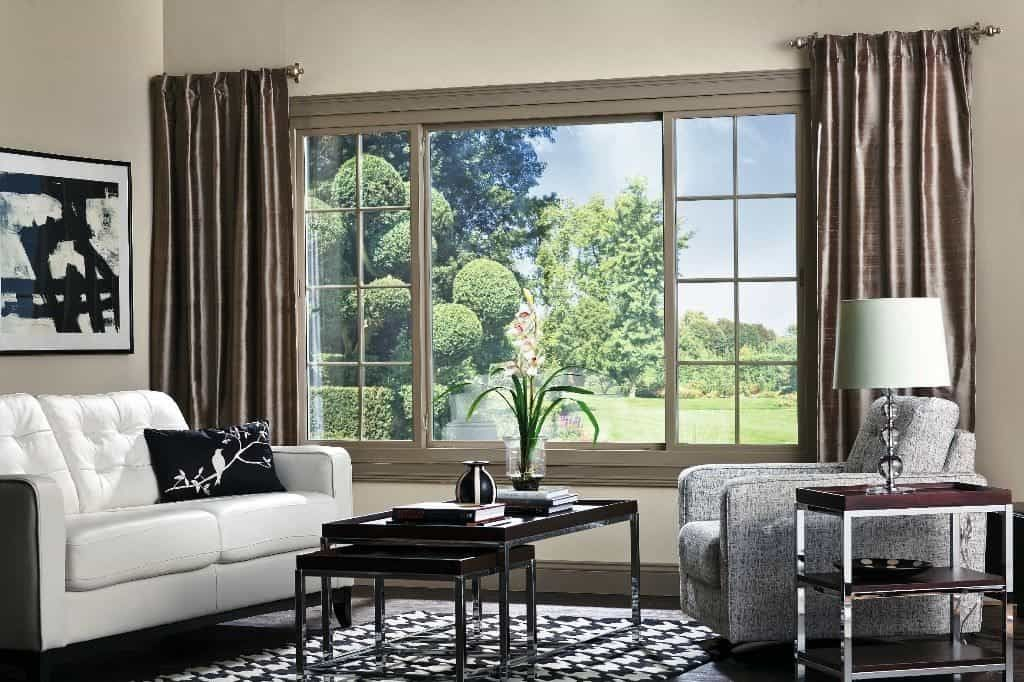 Living Room With Silk Curtains And Sliding Windows Awesome For Your House