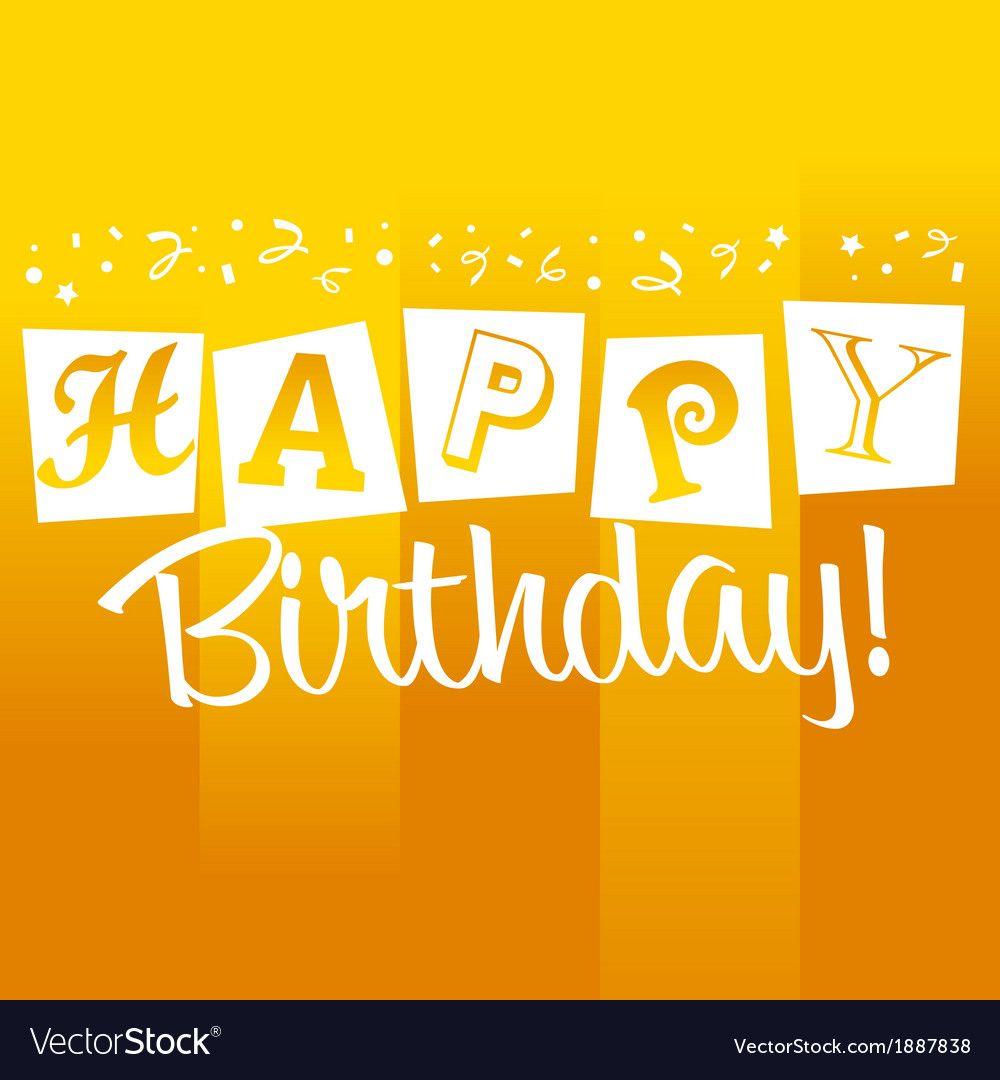 yellow birthday greeting card royalty free vector image