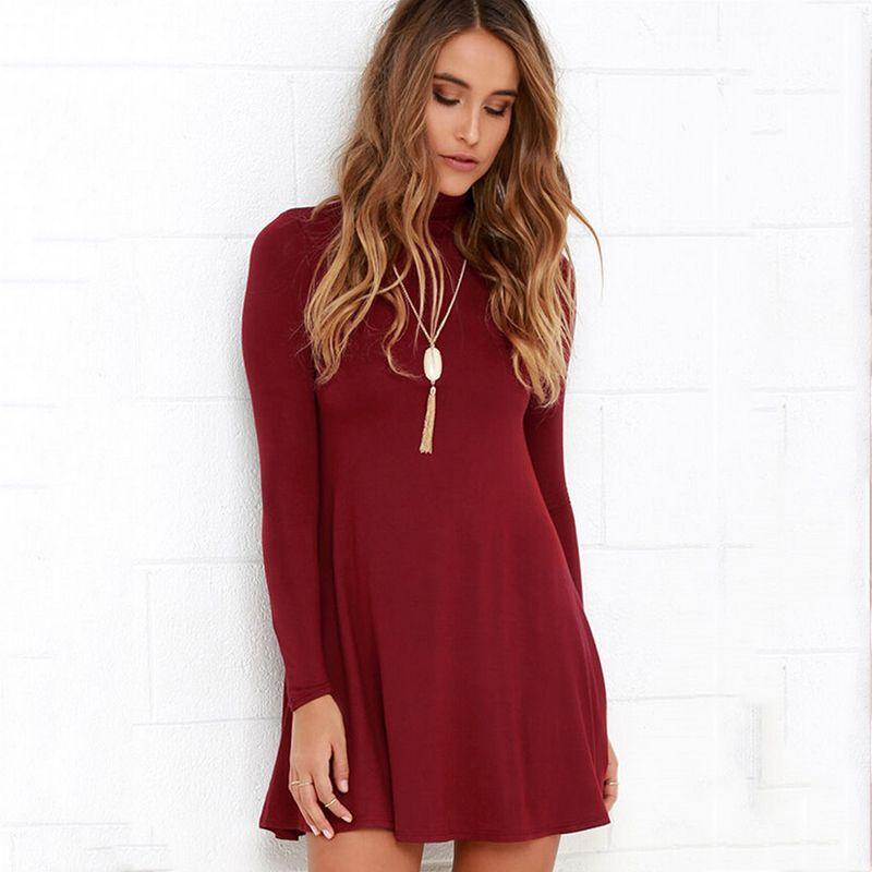 7e1558674 Encontrar Más Vestidos Información acerca de 2016 nuevas mujeres ropa  Casual de moda de primavera cuello alto de manga larga Mini vestido rojo de  vino gris ...