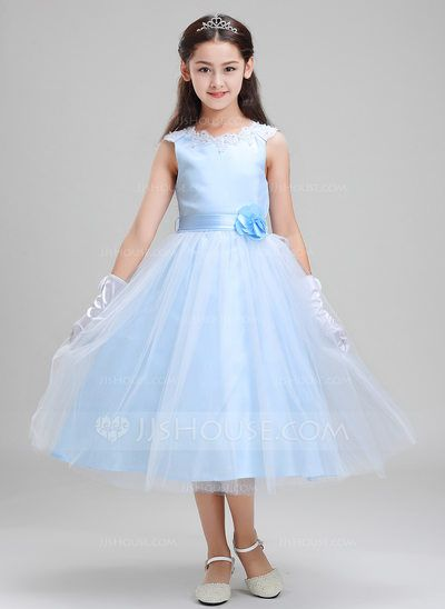 a97aba966a  US  39.59  A-Line Princess Tea-length Flower Girl Dress - Lace Polyester  Sleeveless Scoop Neck With Sash Beading Appliques Flower(s)