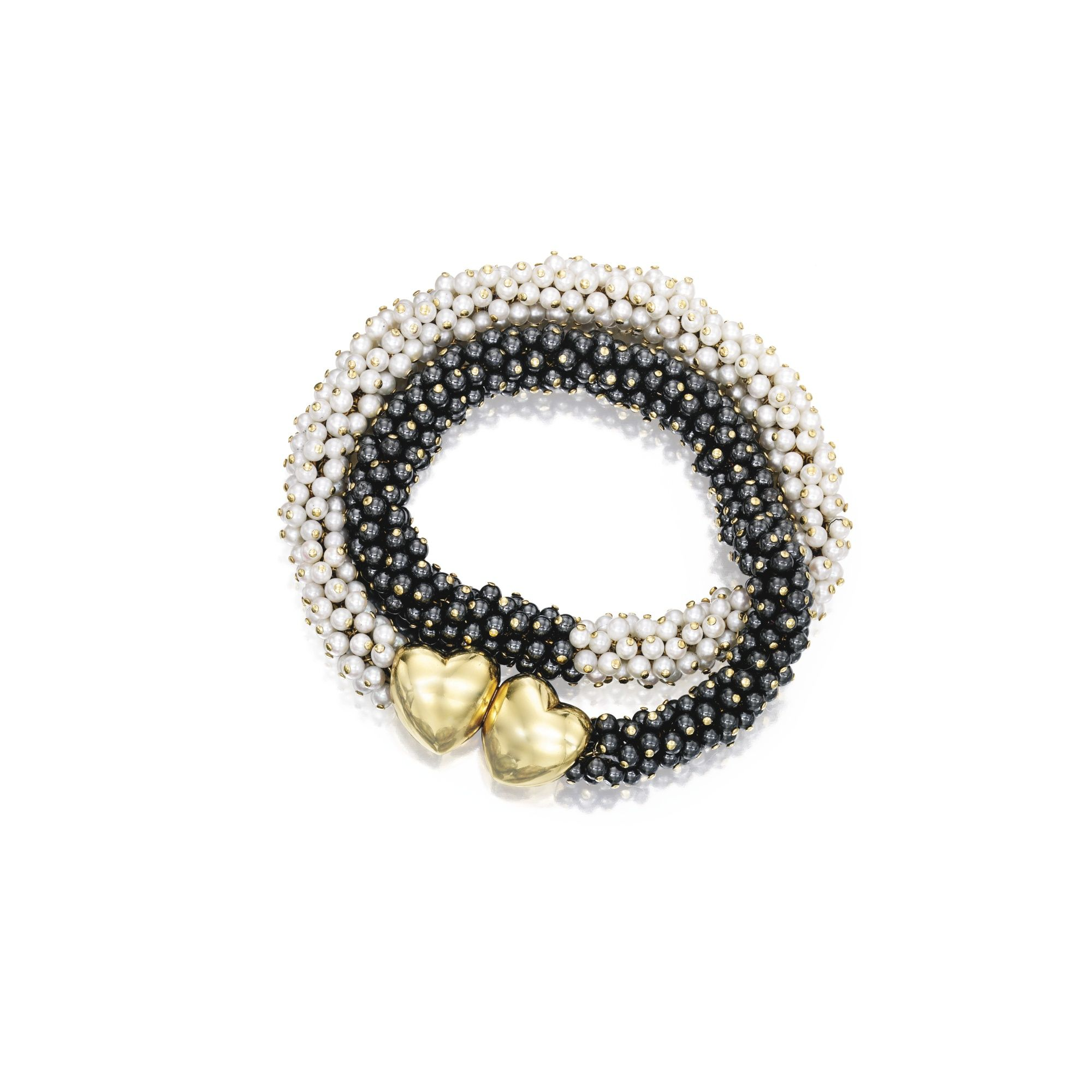 karat gold cutured pearl and hematite bracelet van cleef