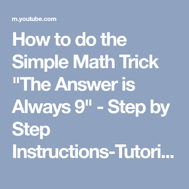 How to do the Simple Math Trick \