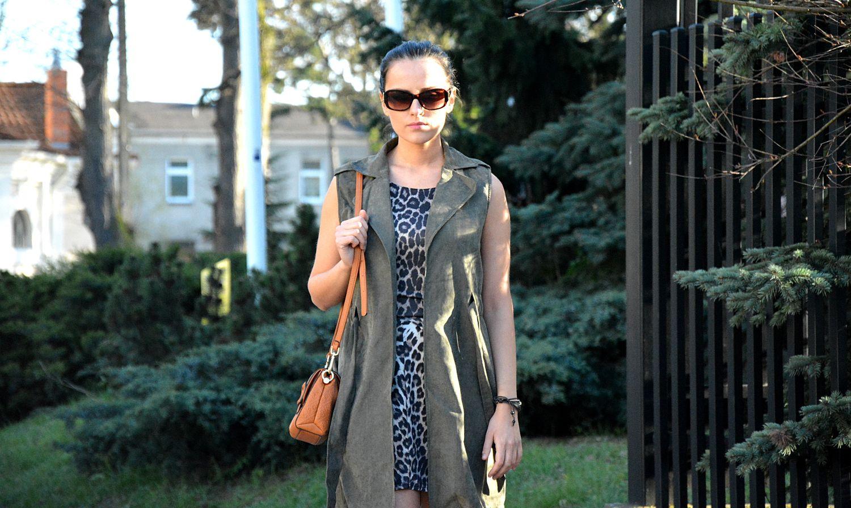 Stylizacja Z Dluga Kamizelka Khaki Fashion Maxi Dress Maxi