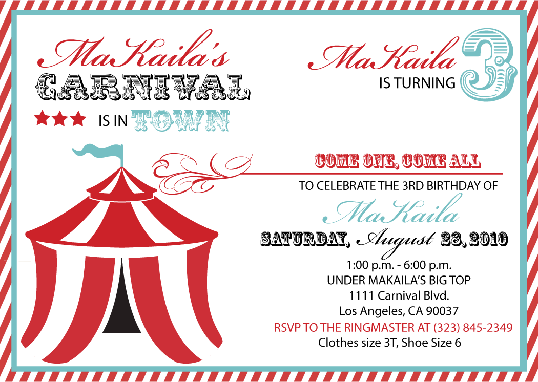 carnival invitation Carnival birthday party – Free Printable Carnival Birthday Invitations