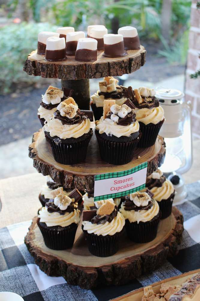 Cupcakes at a lumberjack birthday party! See more party ideas at CatchMyParty.com!