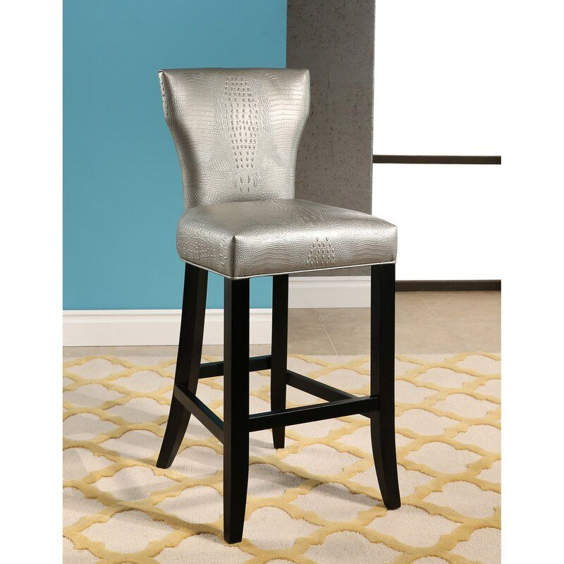 Zora Crocodile Embossed 30 Quot Bar Stool In 2020 Backless