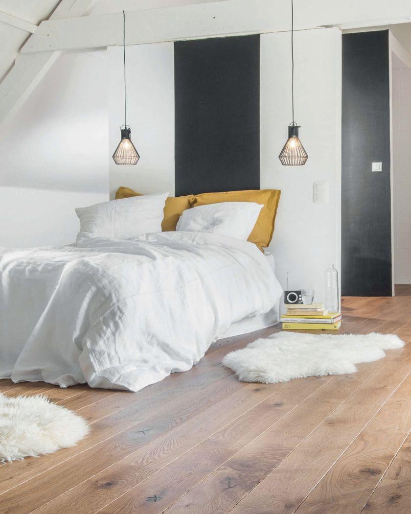 deco chambre blanc bois parquet  Deco chambre blanche, Chambre