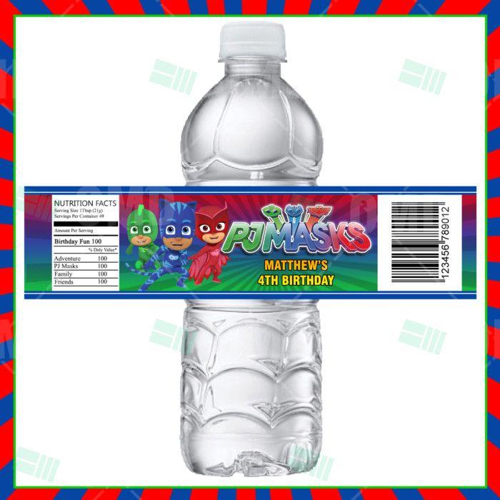 PJ Masks Cartoon Party Bottle Labels (With Images)