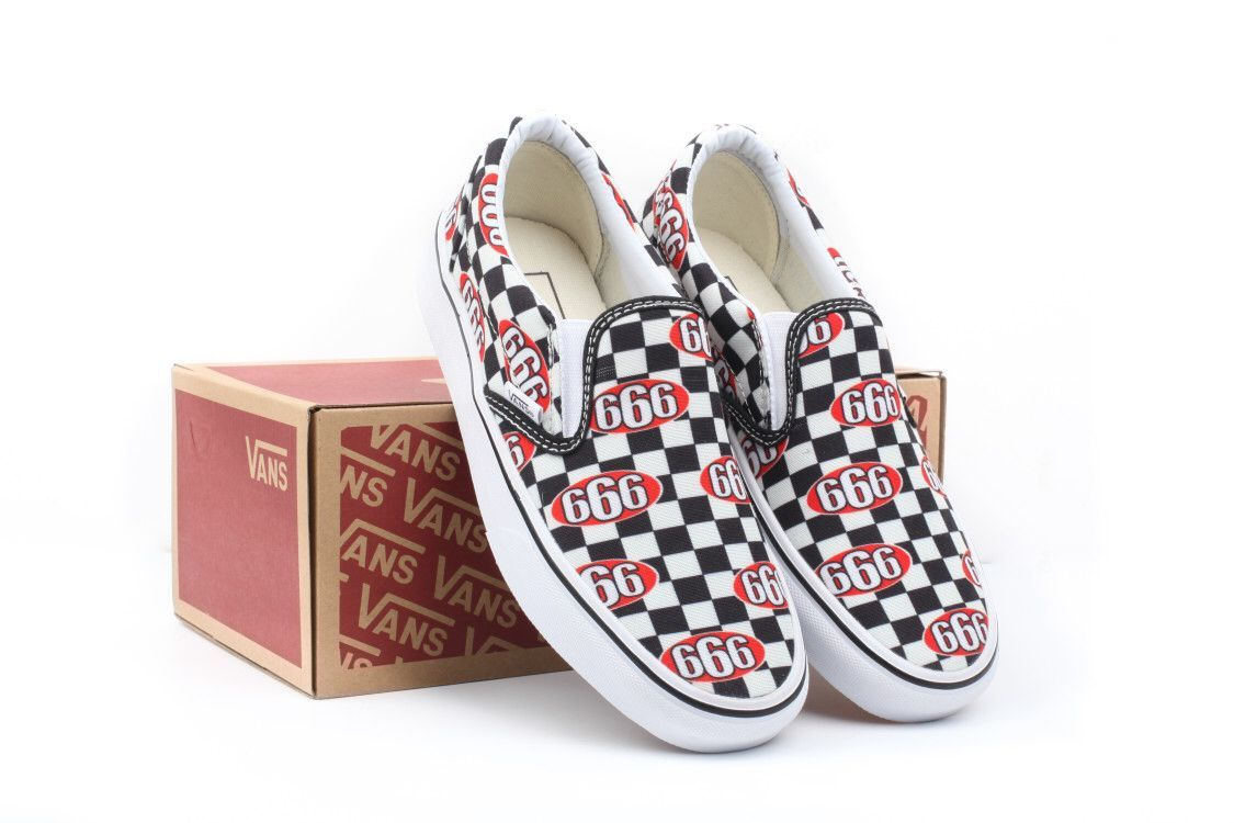 717024f8af VANS CUSTOM MADE SUPREME 666 CHECKERBOARD SLIP ON VS411