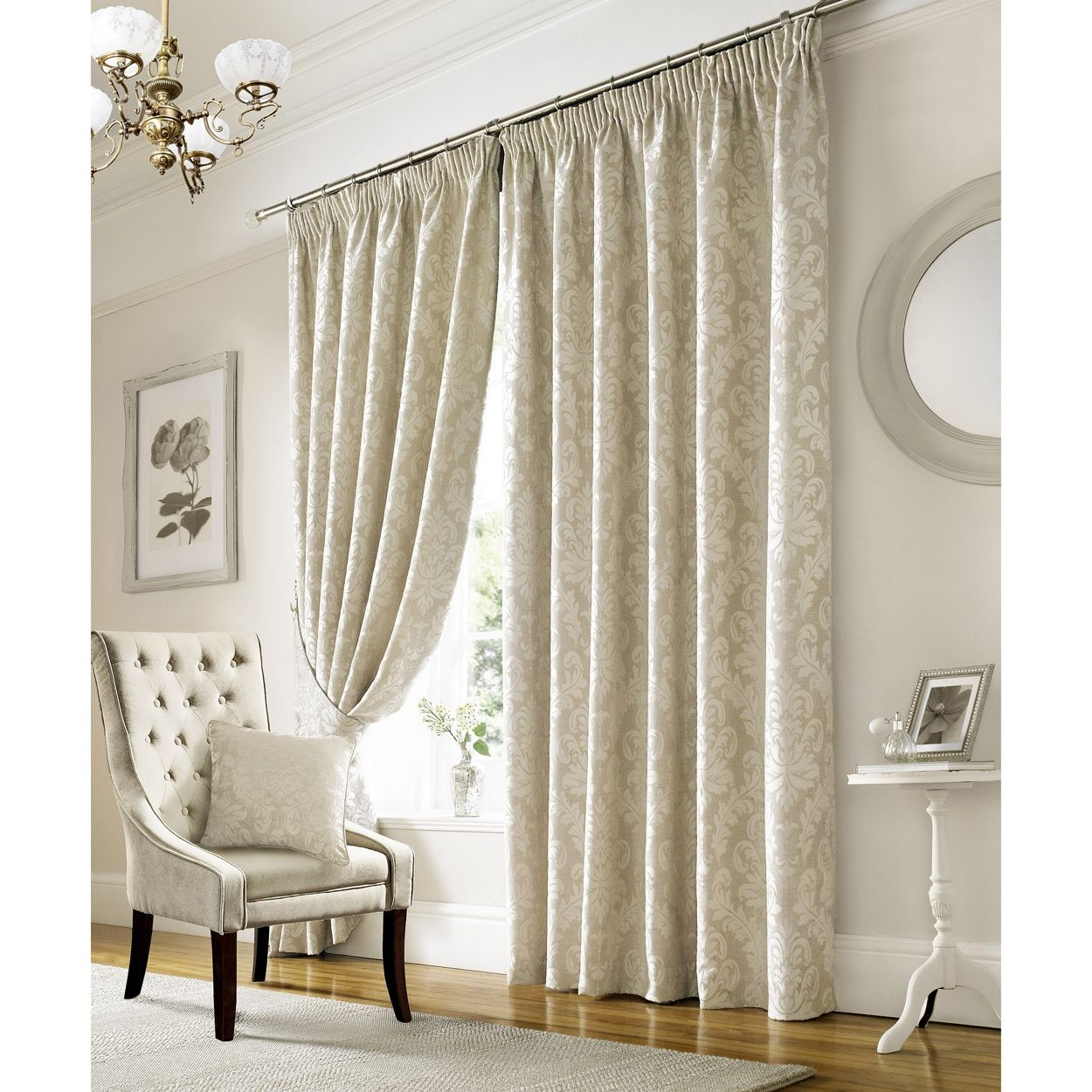 elegant and ivory damask patterned curtains with pencil pleat heading