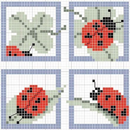 Lady bug cross stitching pattern spring summer for Vorlagen kreuzstich