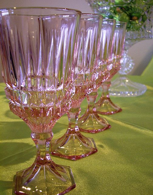 Vintage pink depression glass