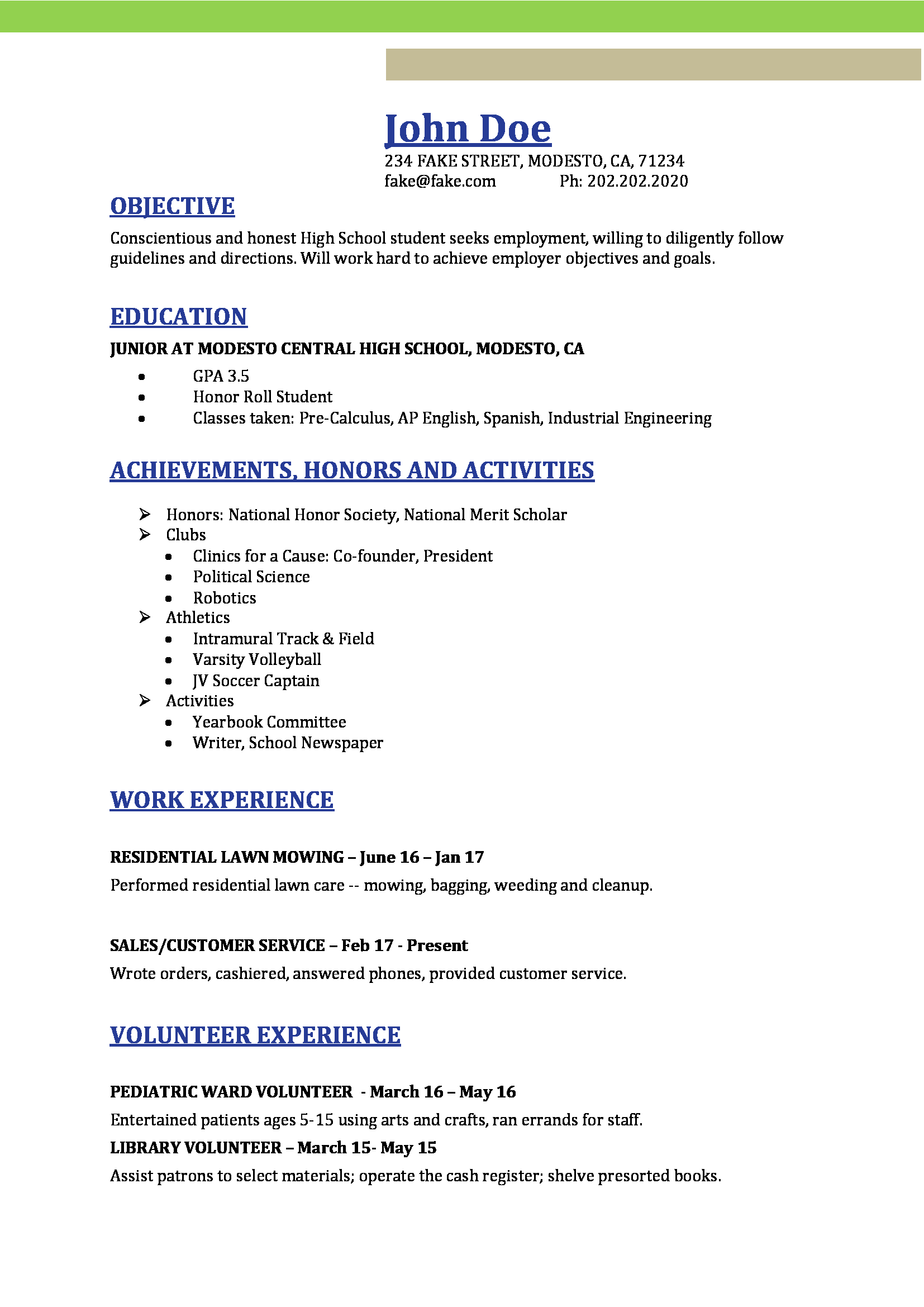 High School Resume High School Resume Templates, Image