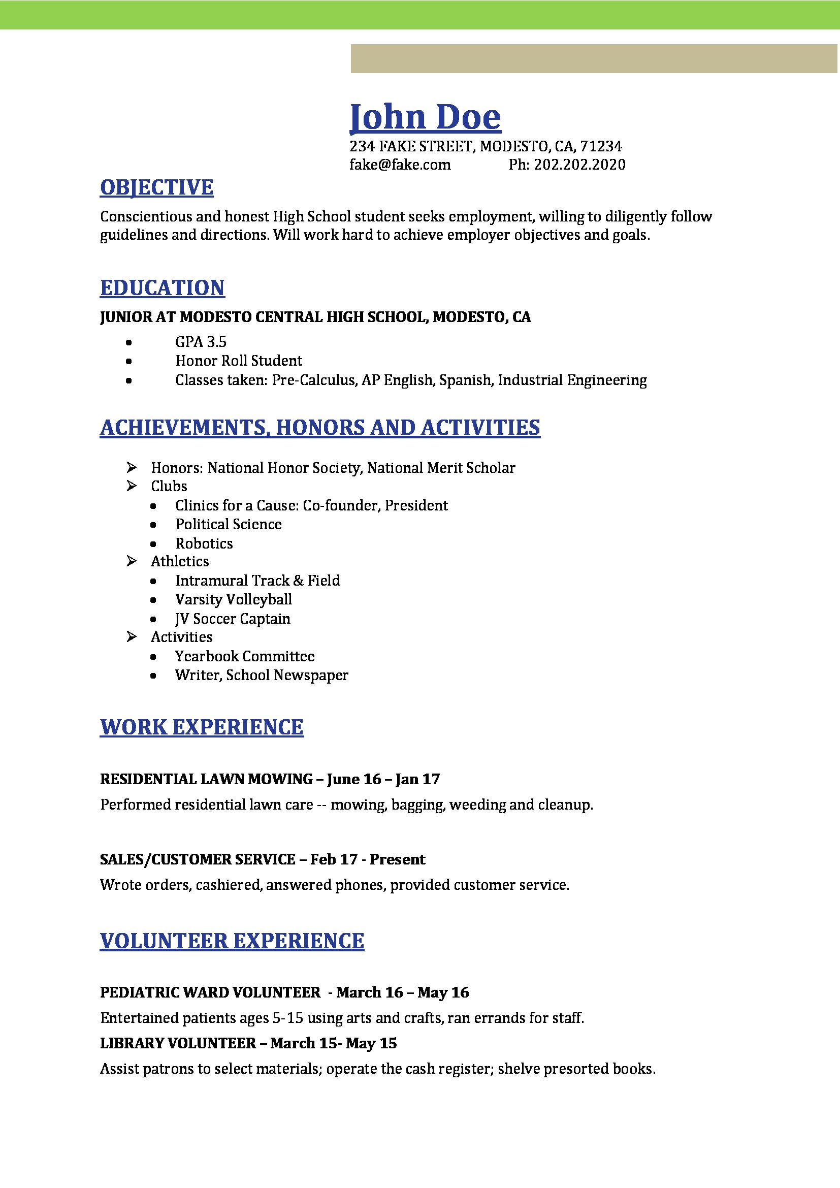 High School Resume High School Resume Templates, Image