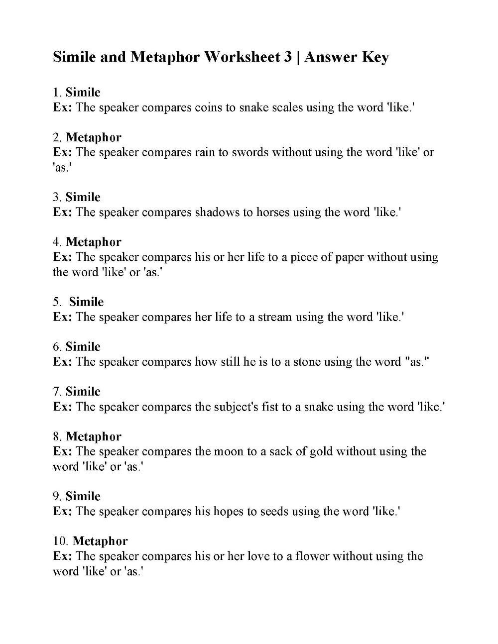 Simile And Metaphor Worksheet 3 Answers Similes And Metaphors Figurative Language Worksheet Language Worksheets [ 1294 x 1000 Pixel ]