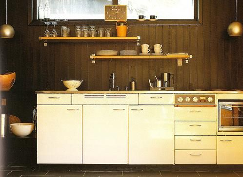 Marvelous Metal Cream Colored Cabinets With Dark Stained Walls, Love This Retro  Looking Kitchen! Part 10
