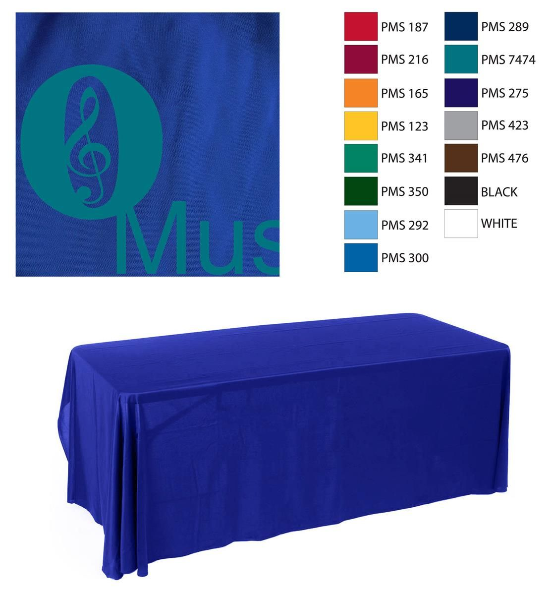 6' Table Cloth with 1 Color Imprint - Blue