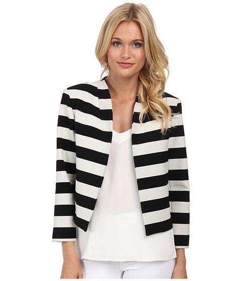 Nicole Miller Bold Stripe Cropped Jacket Black/White - 6pm.com