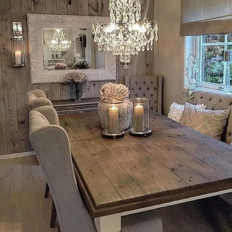 37 Stunning Rustic Farmhouse Dining Room Set Furniture Ideas
