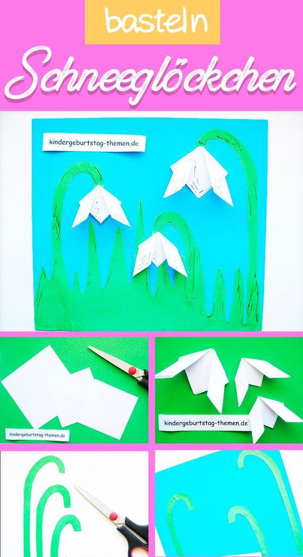bastelanleitung für hübsche schneeglöckchen aus papier