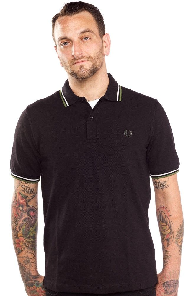 a13d341e FRED PERRY TWIN TIPPED BLACK/KHAKI/WHITE The Fred Perry twin tipped polo is  perfect for layering this fall. This black, cotton polo with khaki green &  white ...