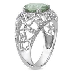 Miadora Sterling Silver Green Amethyst and Diamond Accent Ring
