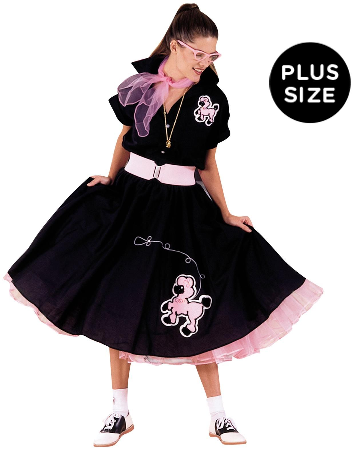 6dacb4146322a PartyBell.com - Complete  Poodle Skirt Outfit (Black   Pink) Adult Plus  Costume