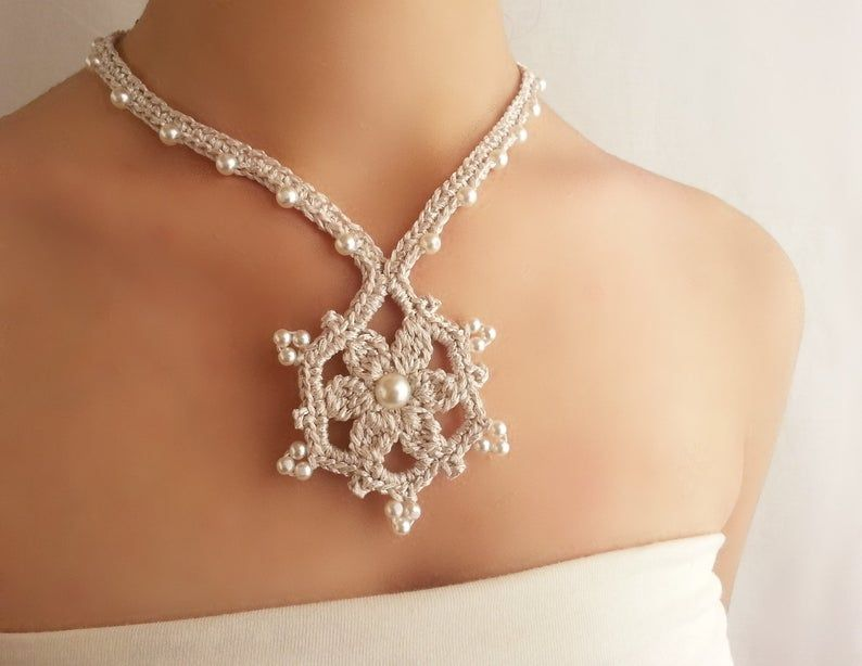 Silver necklace statement Necklace pendant Victorian jewelry Pearl necklace wedding Crochet choker vintage