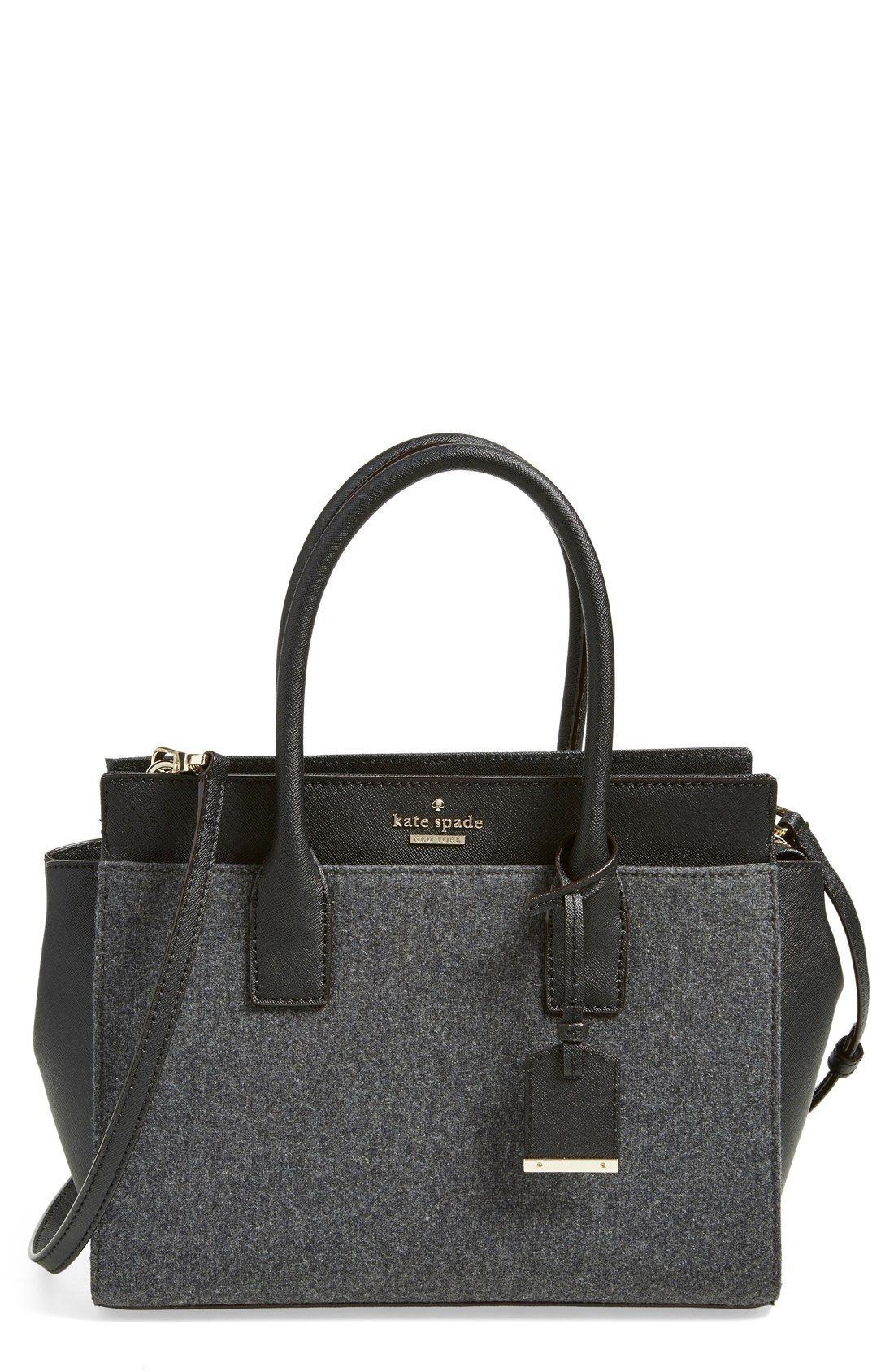 3041e646baba The heather grey flannel and the structured shape of this Kate Spade satchel  makes it the perfect go-to bag for fall.