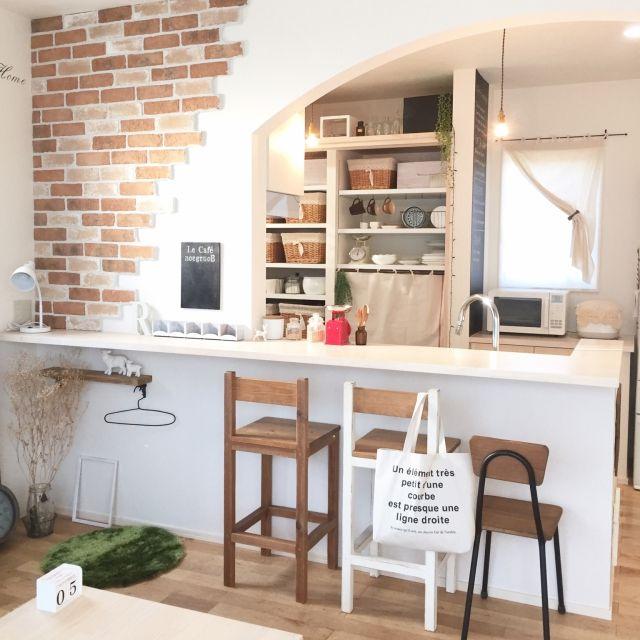 リビング キッチン棚 100均 カフェ風 カゴ などのインテリア実例 2015 11 07 20 33 02 Roomclip ルームクリップ キッチンレンガ インテリア ブルックリンカフェ
