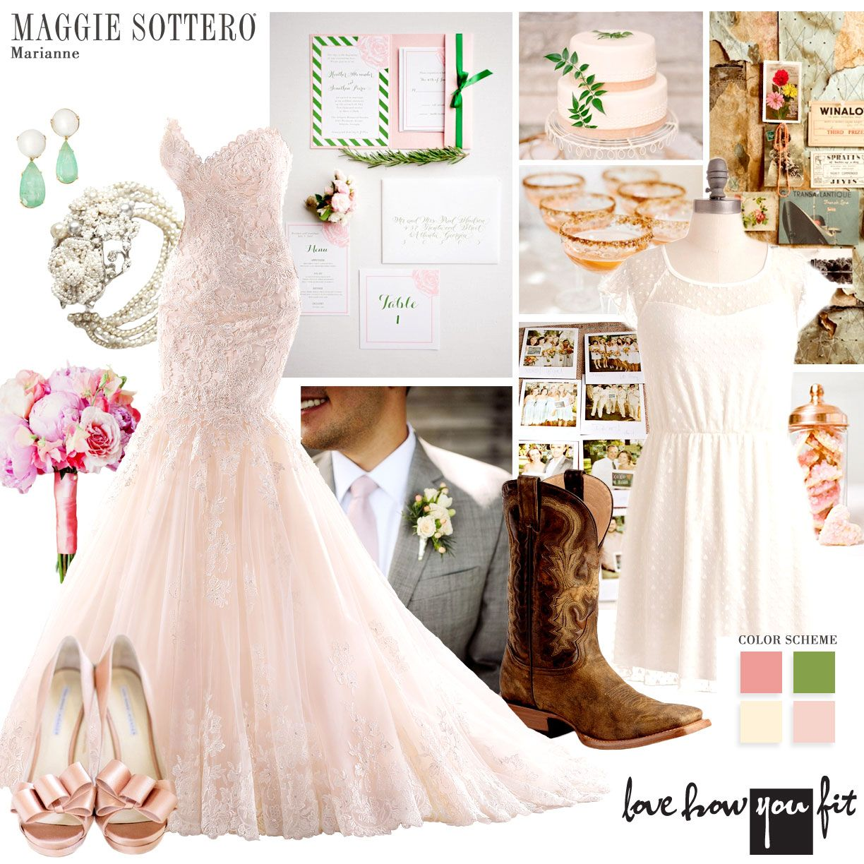 Pink palette for your rustic wedding theme vintage glam green