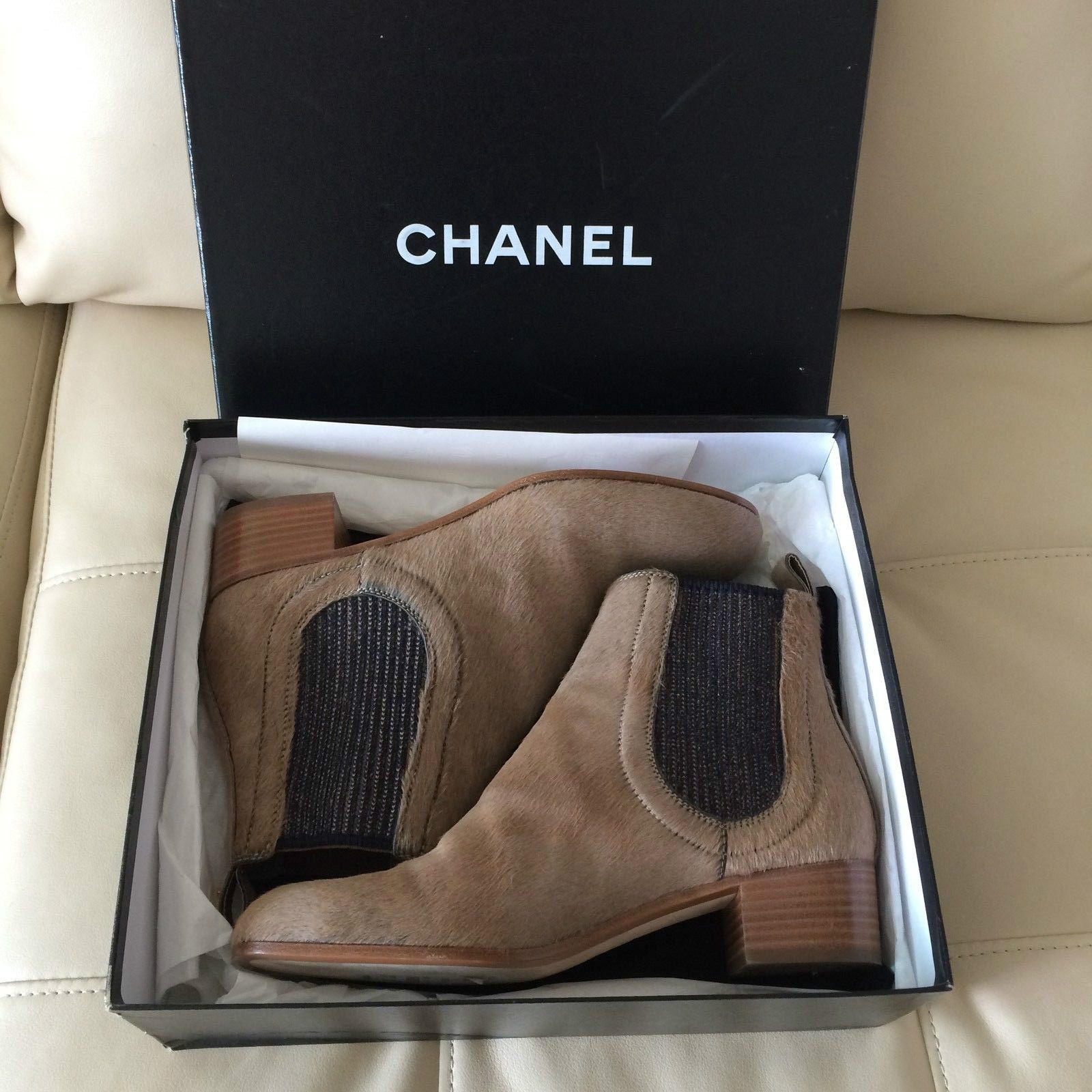 Chanel Pony Hair Double Gore Ankle Boots Size: 39 1/2 BRAND NEW WITH BOX
