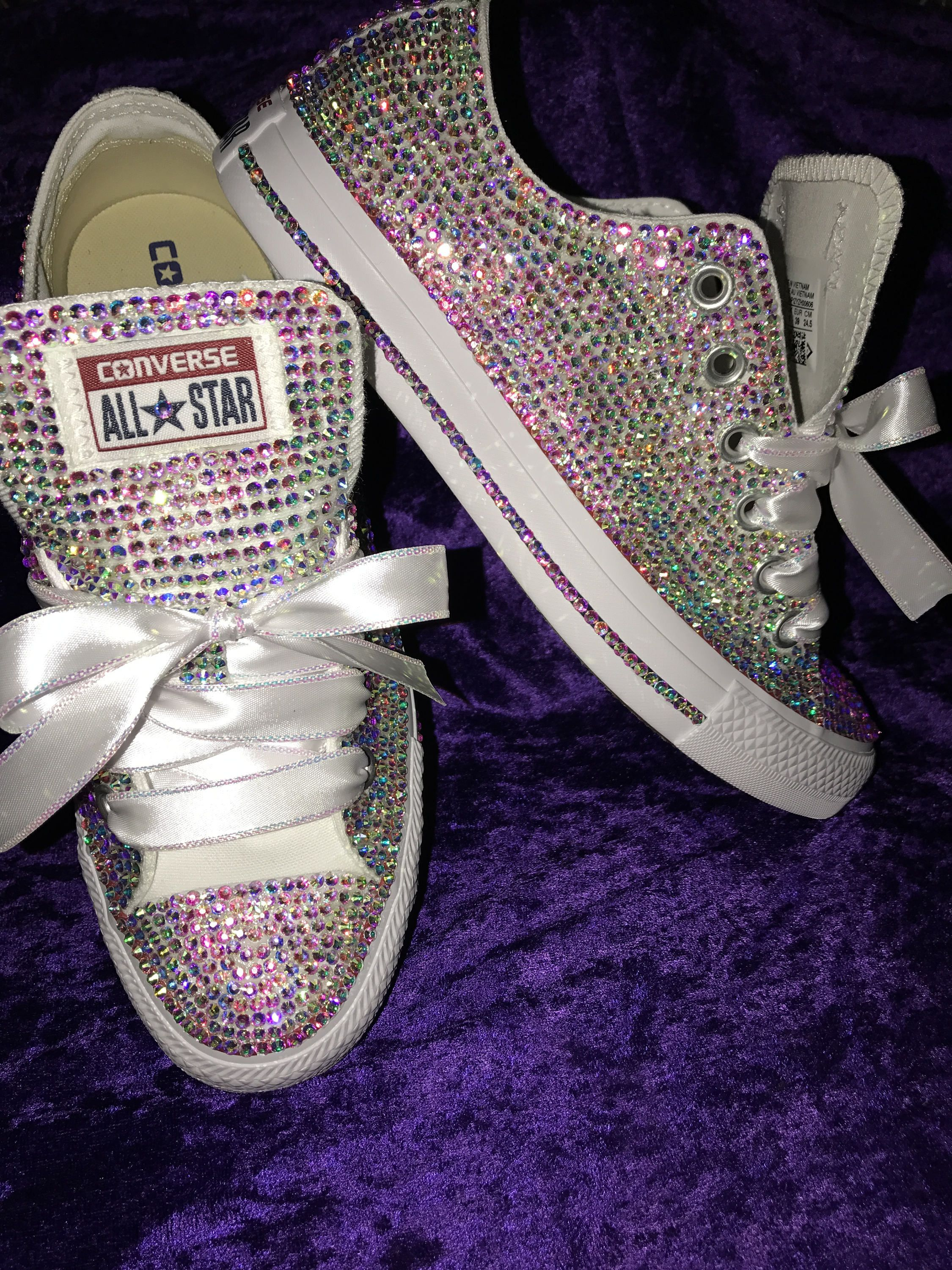 924d0189a9a1 Custom Swarovski crystal Converse For weddings