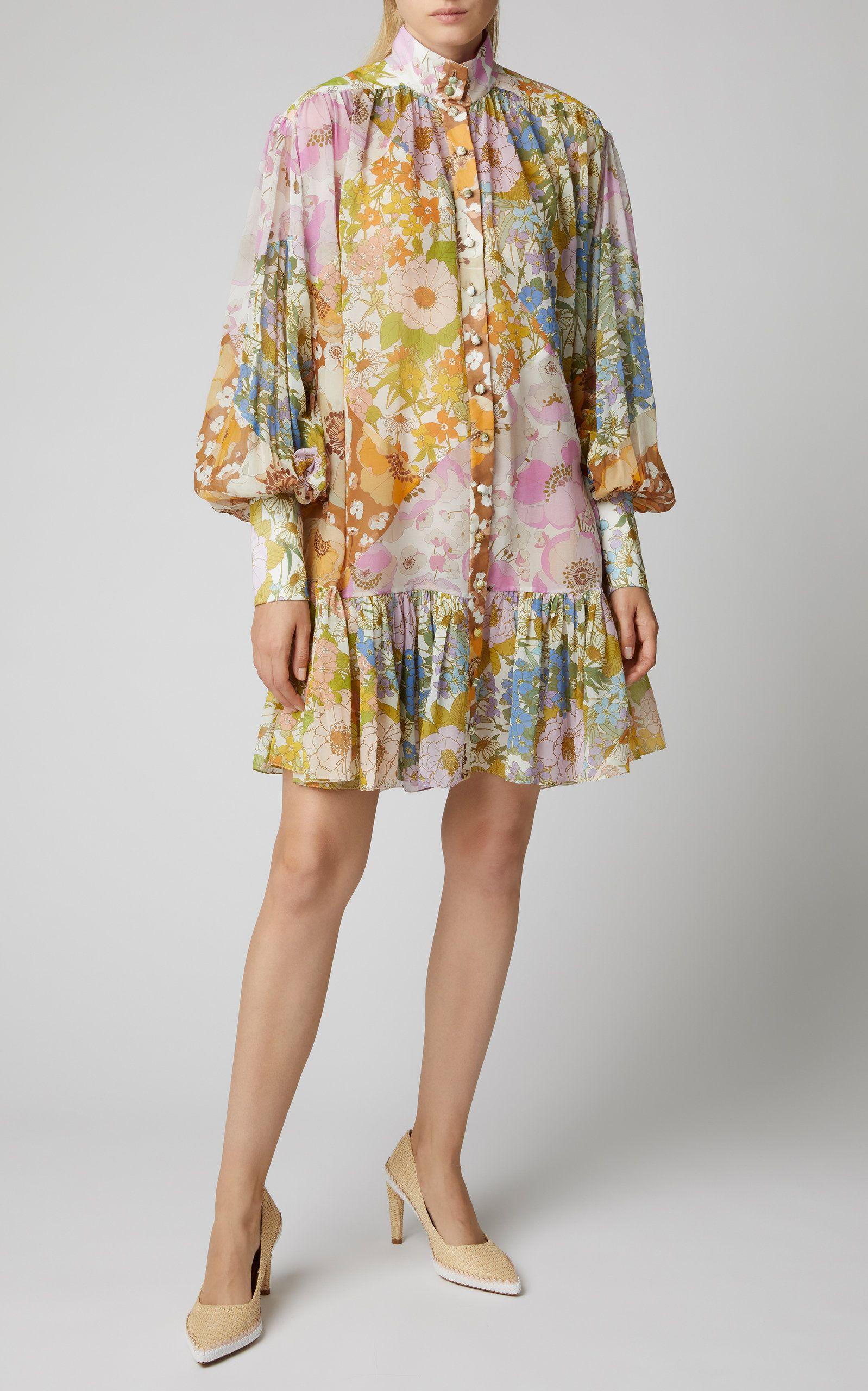 Zimmermann Floral Print Silk Chiffon Mini Dress Floral Print Dress Outfit Fashion Printed Dress Outfit [ 2560 x 1598 Pixel ]