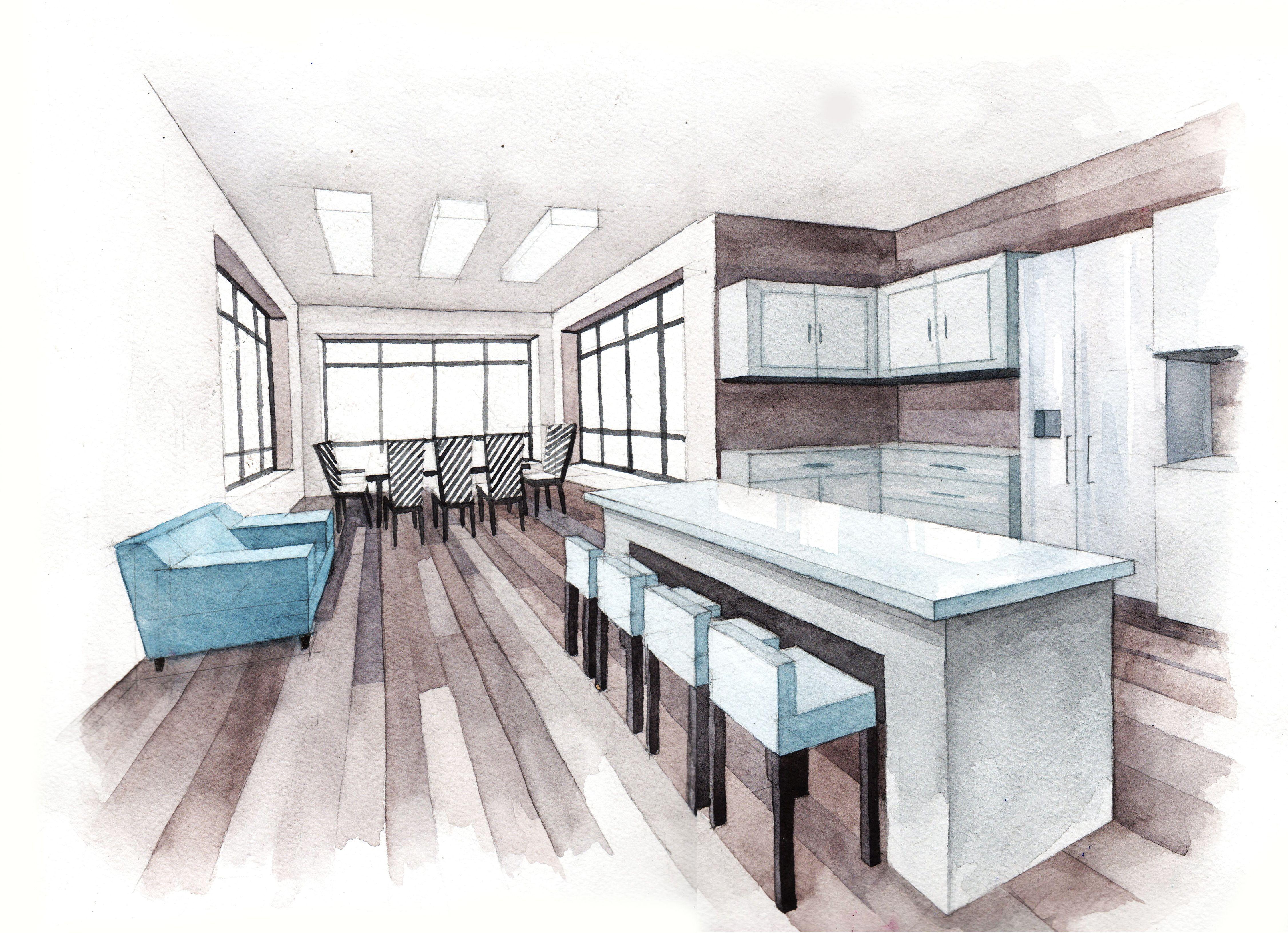 Kitchen Design Architecture Watercolor Sketch