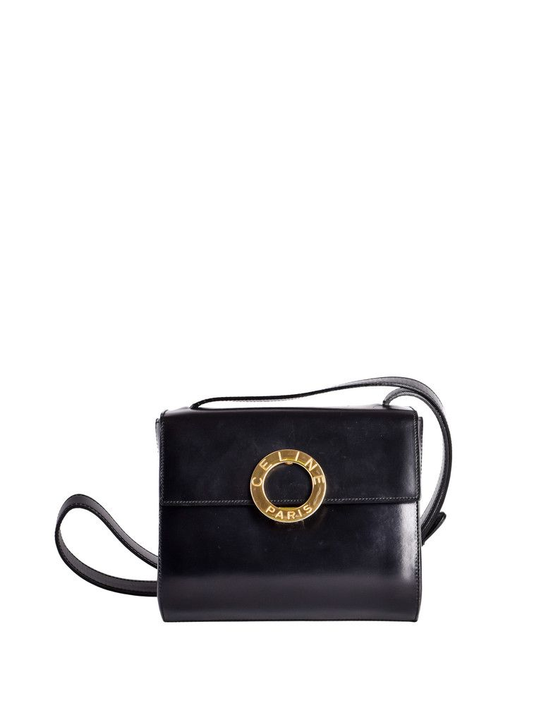 aa4abbd269 Celine Vintage Gold Circle Black Leather Structured Shoulder Bag - from  Amarcord Vintage Fashion