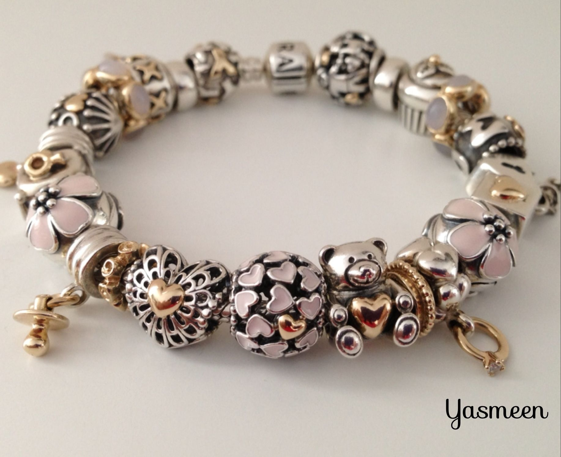 The look of this two tone bracelet along with soft pink colors