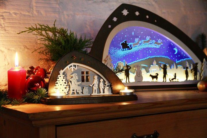 Erzgebirgische Weihnachtsdeko.Teelichthalter Bescherung Dekoartikel Christmasdecoration