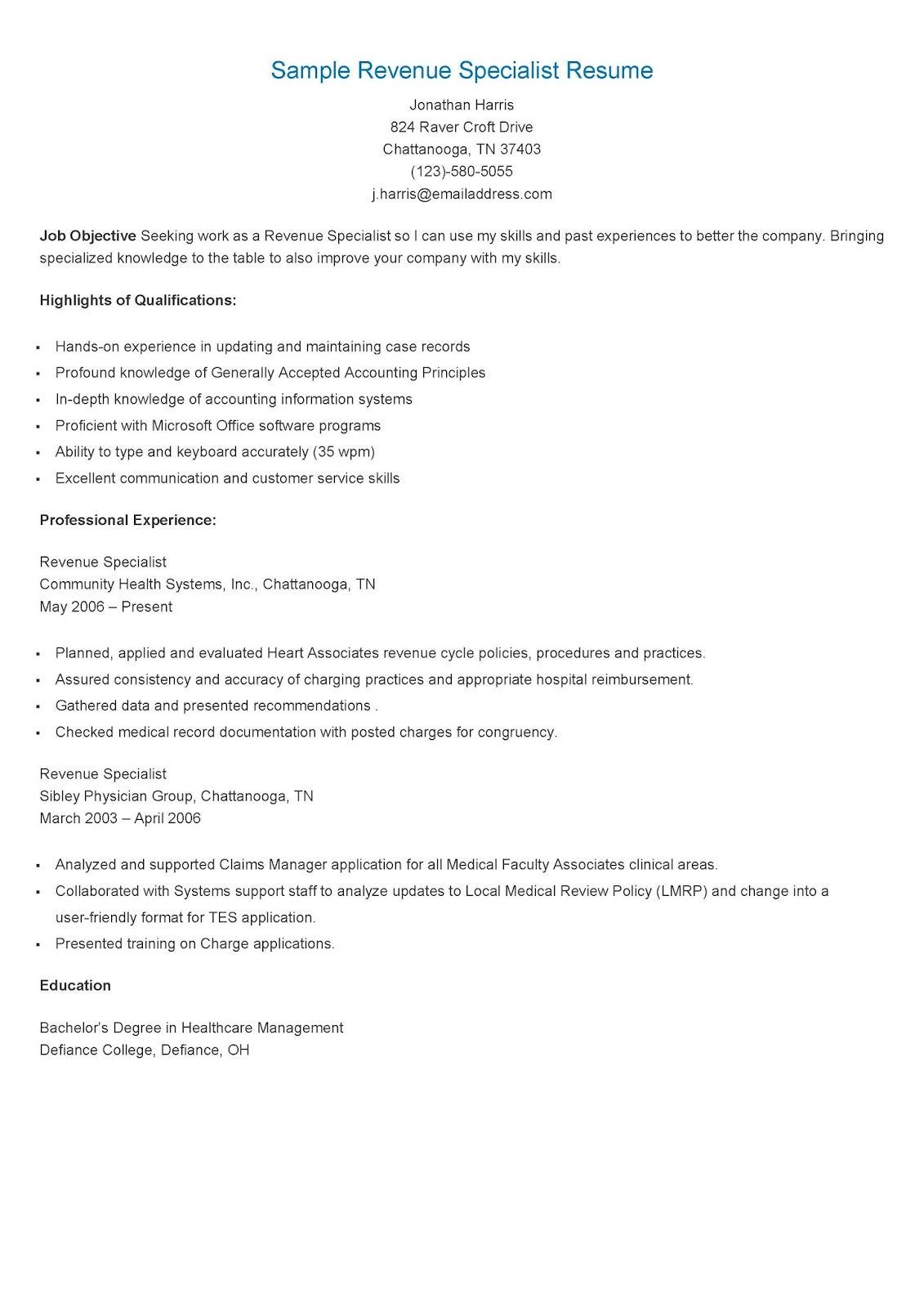 Sample Revenue Specialist Resume  Resame