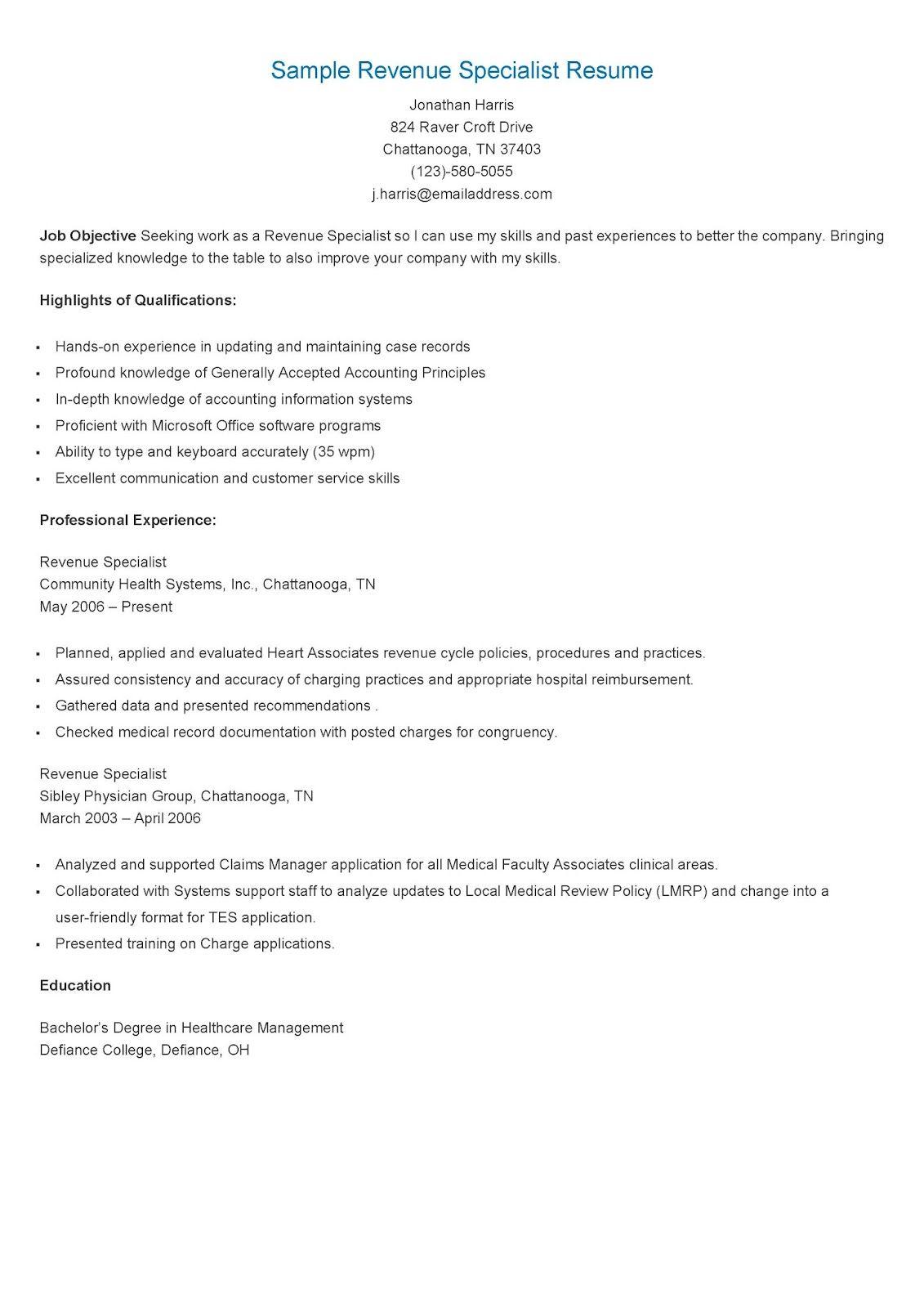 Sample Revenue Specialist Resume Sample resume format