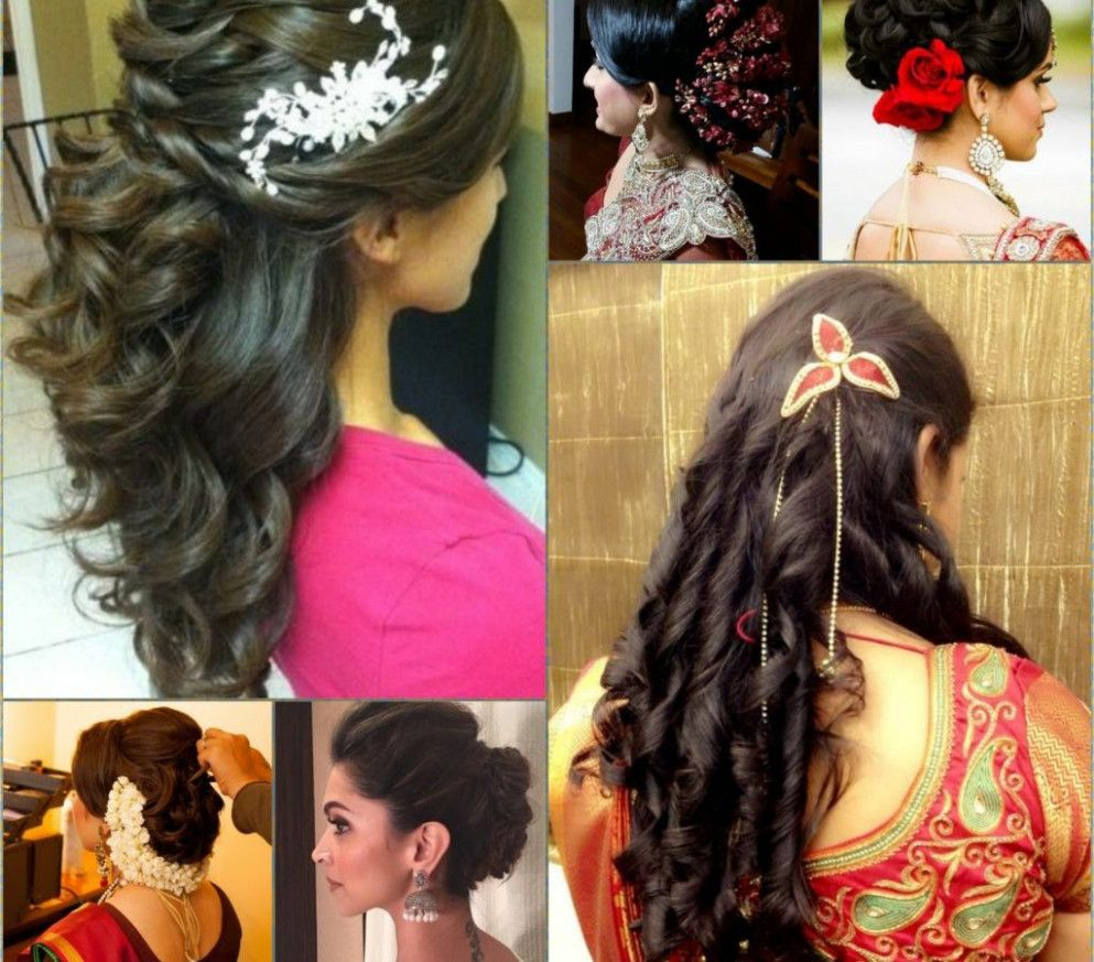 indian wedding hairstyles long hair for medium stock photos