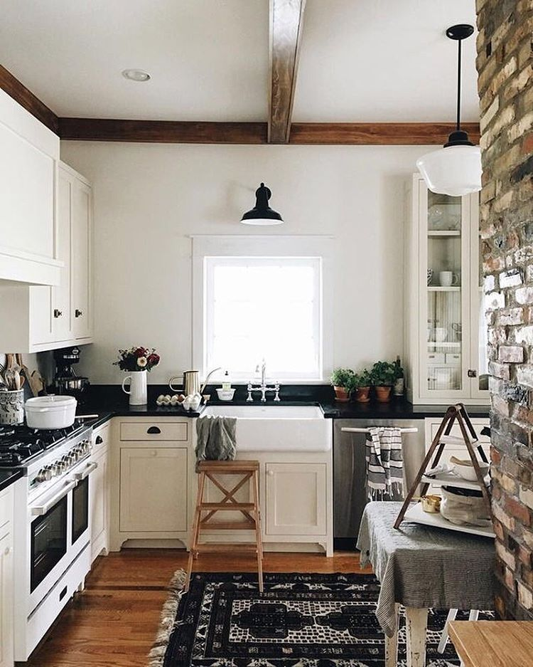 Brick wall is very cool. | Kitchen design small, Home kitchens