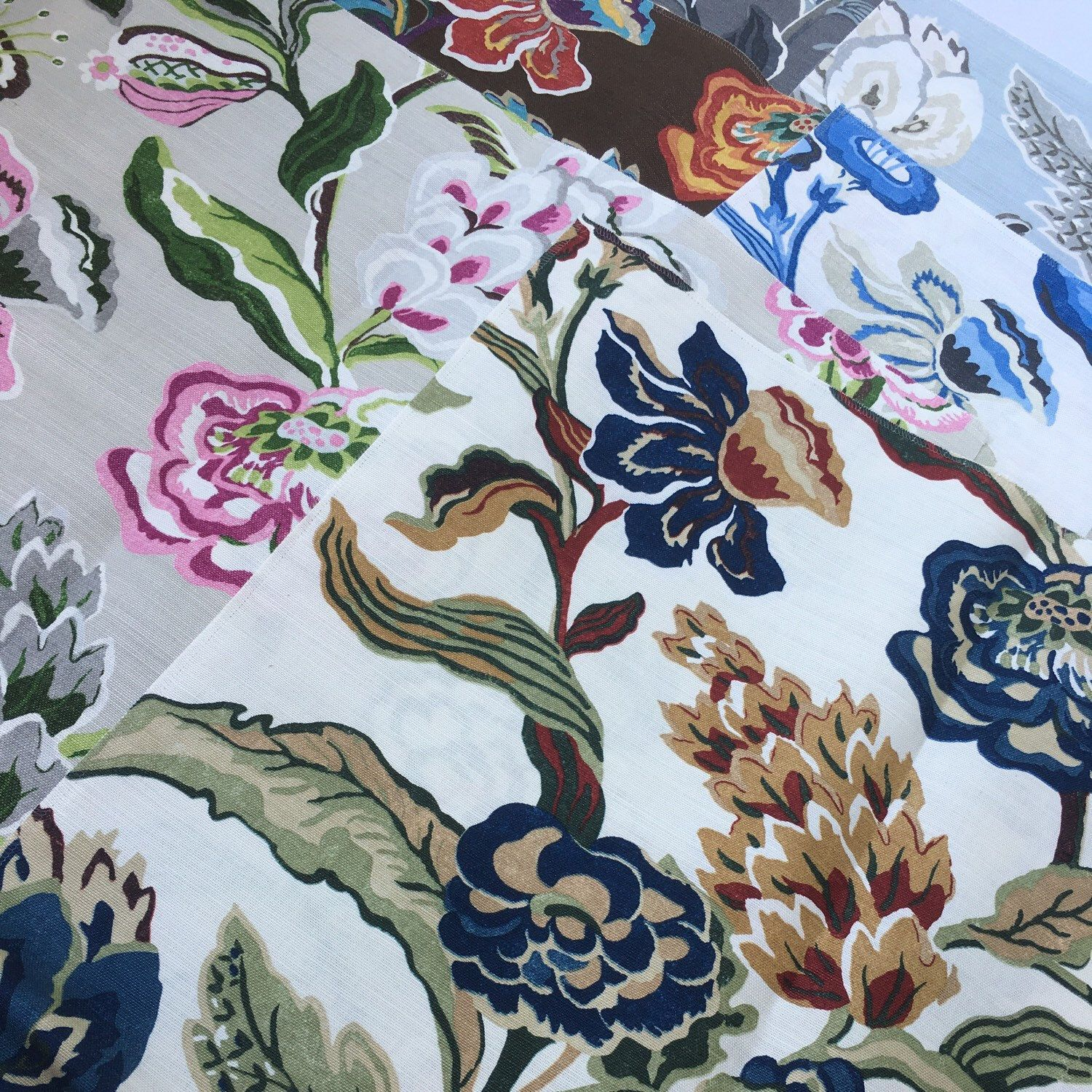 Weave medley light green fabric 6 yards contemporary drapery fabric - Chinoiserie Floral Fabric Thibaut Fabric Navesink Cream And Navy Grey Grey And Pink Mocha Blue And