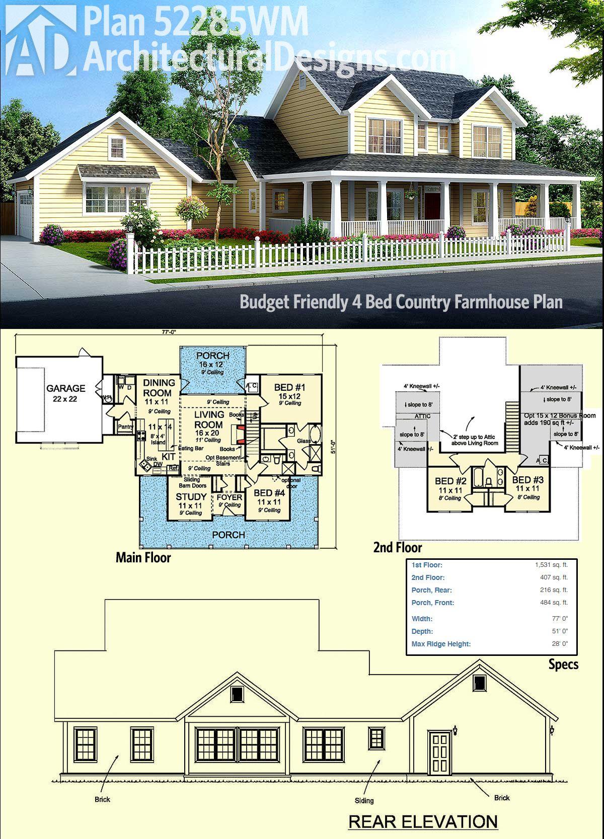 introducing architectural designs country farmhouse plan 52285wm rh pinterest com