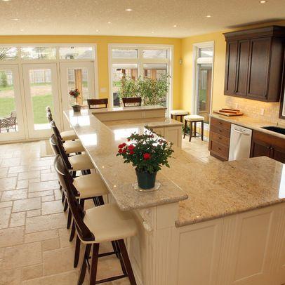 Kitchen Design/ long seating area at island (peninsula) My kitchen