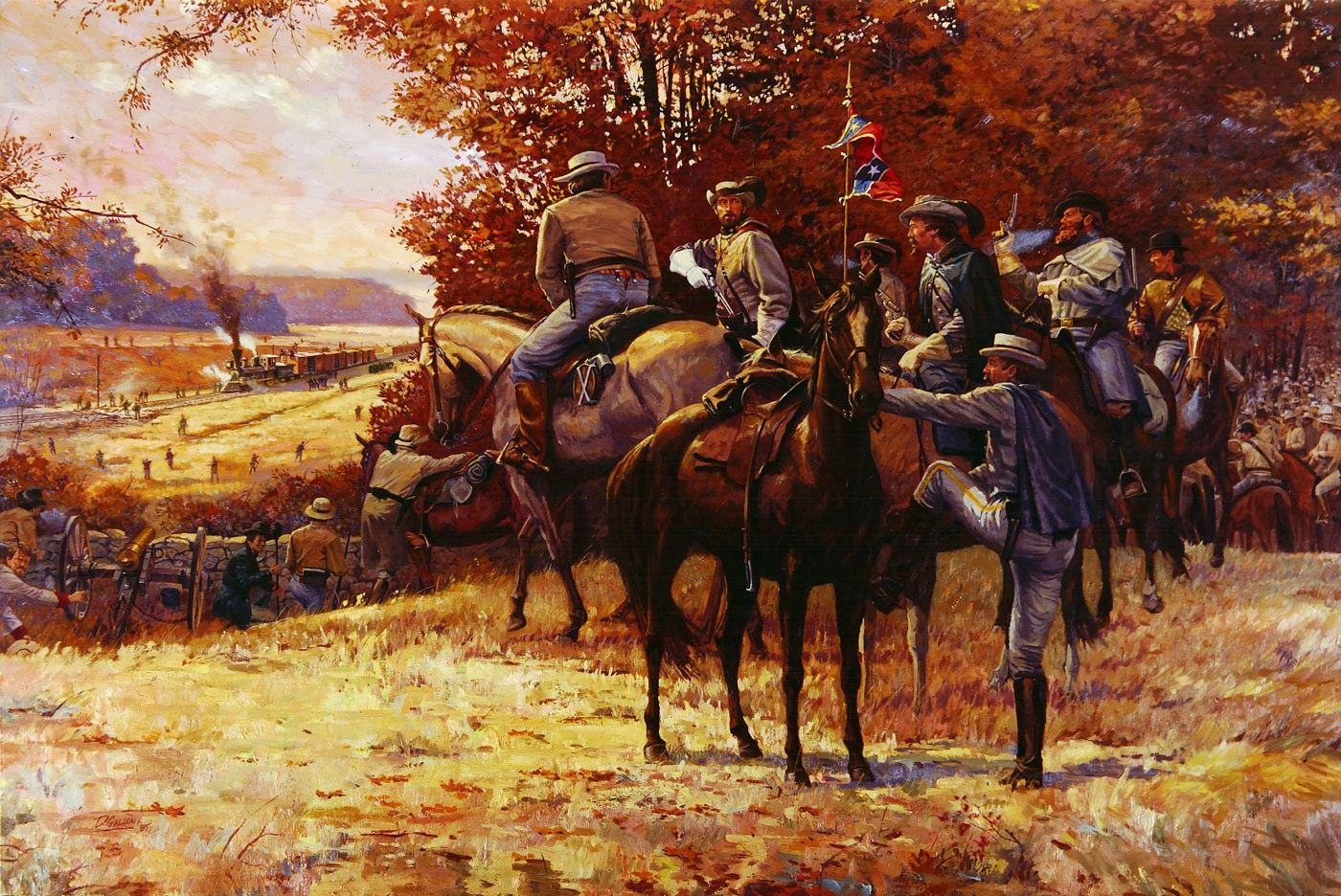 Federal Field Artillery In Action During The American ... |American Civil War Battle Paintings
