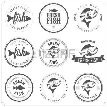 Set mit Fisch-Briefmarken, Aufkleber und Abzeichen gemacht photo